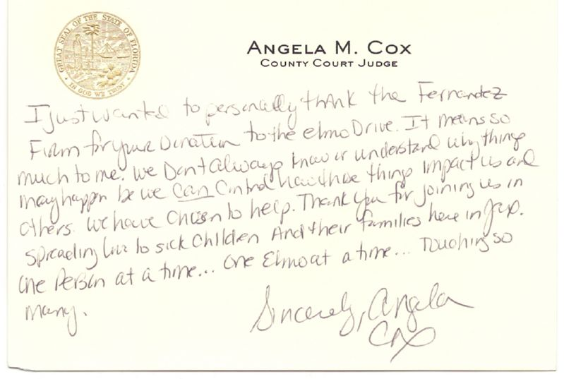 Letter of Appreciation from Angela Cox