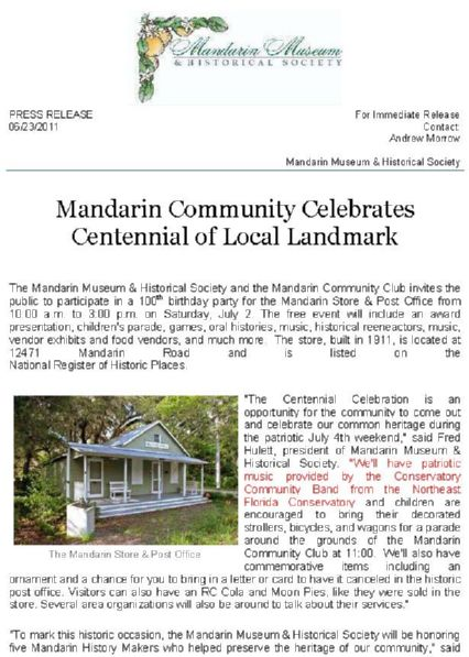 Press Release, Mandarin Community Celebrates Centennial of Local Landmark