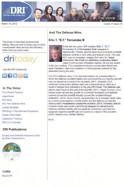 Article about Ellis T. Fernandez, III